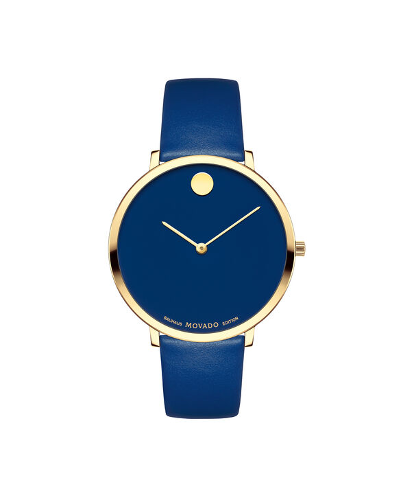 Movado | Movado Women's Mid-size Yellow gold PVD-finished stainless steel watch with blue dial