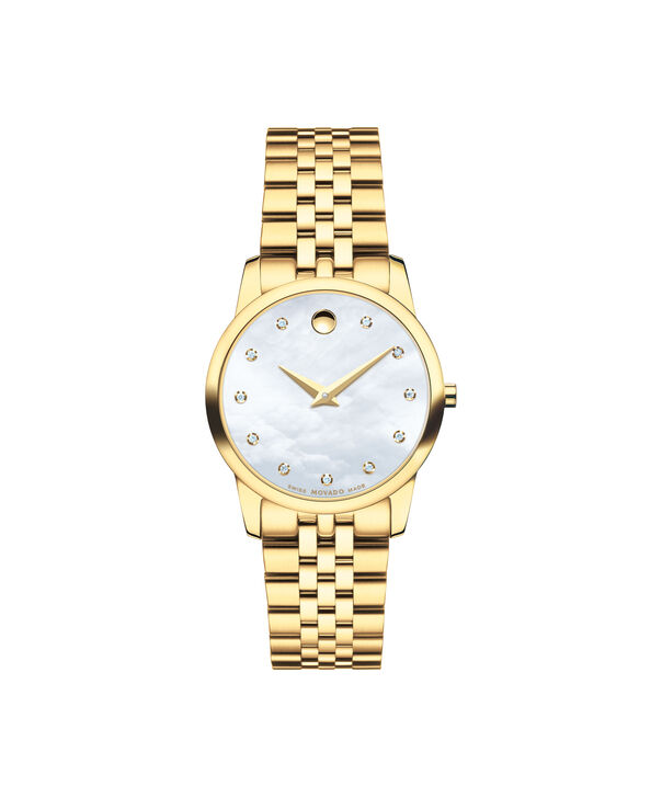 Movado | Museum Women's Yellow Gold PVD-finished Stainless Steel Bracelet Watch With Mother-of-pearl and Diamond Dial