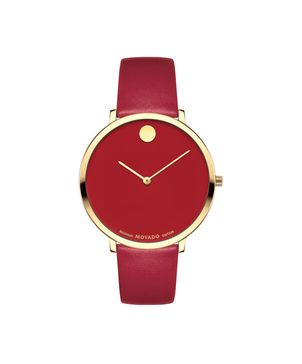 Movado | Movado Women's Mid-size Yellow gold PVD-finished stainless steel watch with red dial
