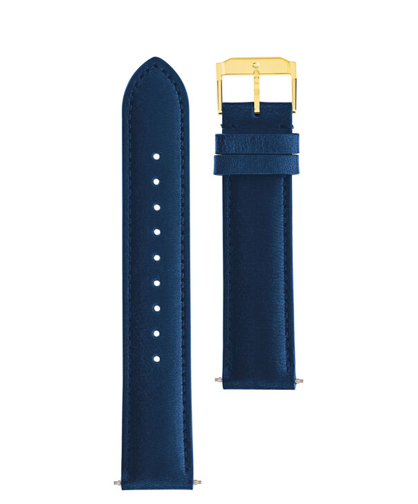 MOVADO Movado Watch Straps769300988 769301004 769301021 – Navy Leather Strap w/ YG buckle - Front view