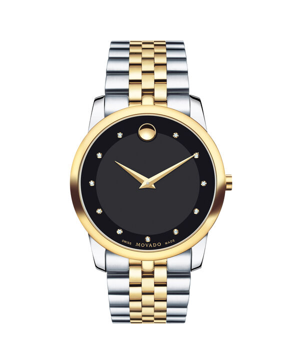 Movado | Museum Men's Stainless Steel Two-toned Bracelet Watch With Black and Diamond Dial