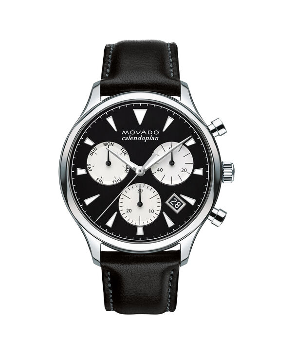 Movado | Large Men's Movado Heritage Series Calendoplan Stainless Steel watch with black dial and leather strap
