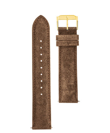 MOVADO Movado Watch Straps769300995 769301011 769301026 – Taupe Suede w/ YG buckle - Front view