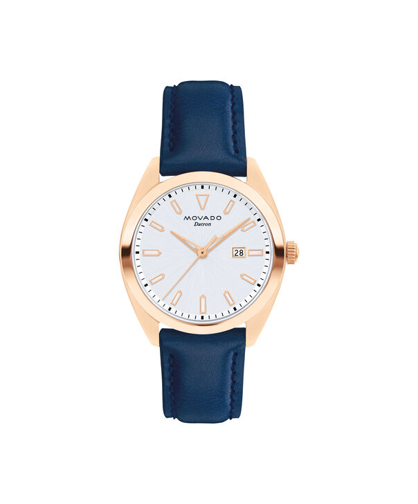 Movado | Movado Movado Heritage Series Women's rose gold ion-plated stainless steel watch with blue leather strap