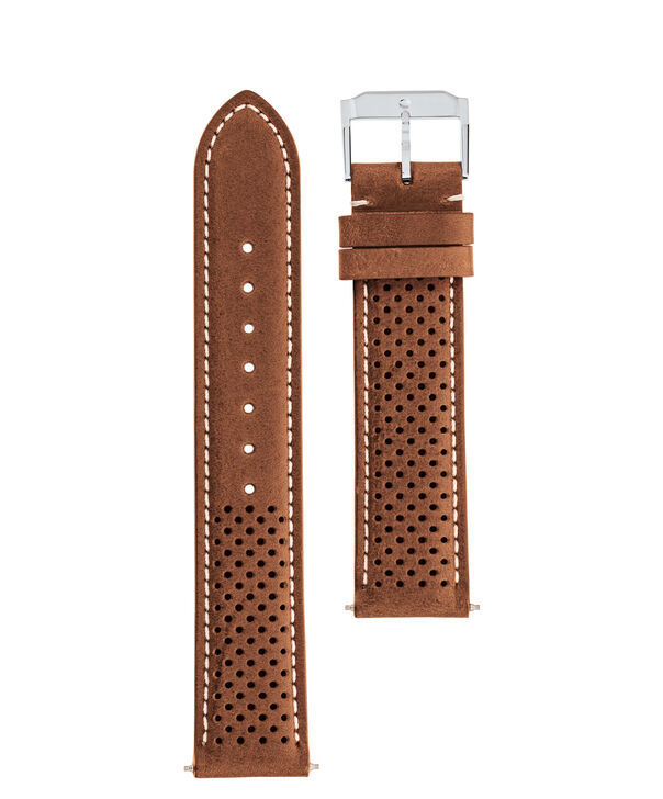 MOVADO Movado Watch Straps769300991 769300939 – Cognac perf. Leather Strap w/ SS buckle - Front view