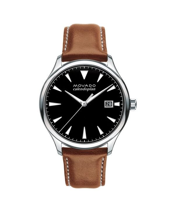 Movado | Large Men's Movado Heritage Series Calendoplan Stainless Steel watch with black dial and cognac leather strap