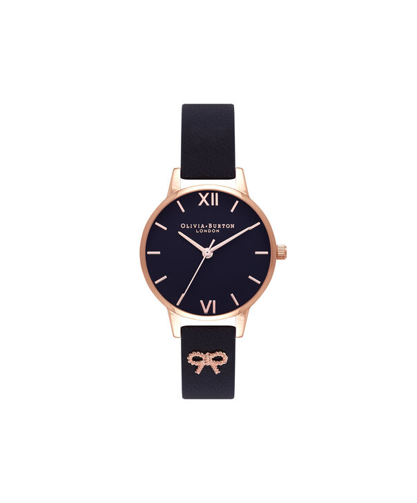 Ladies Black & Rose Gold Watch | Olivia Burton London