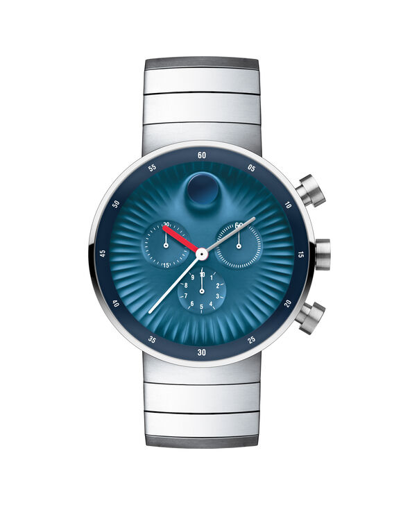 Movado | Movado Edge men's large stainless steel watch with blue aluminum dial