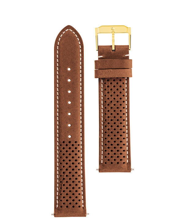 MOVADO Movado Watch Straps769300992 769301007 – Cognac perf. Leather Strap w/ YG buckle - Front view
