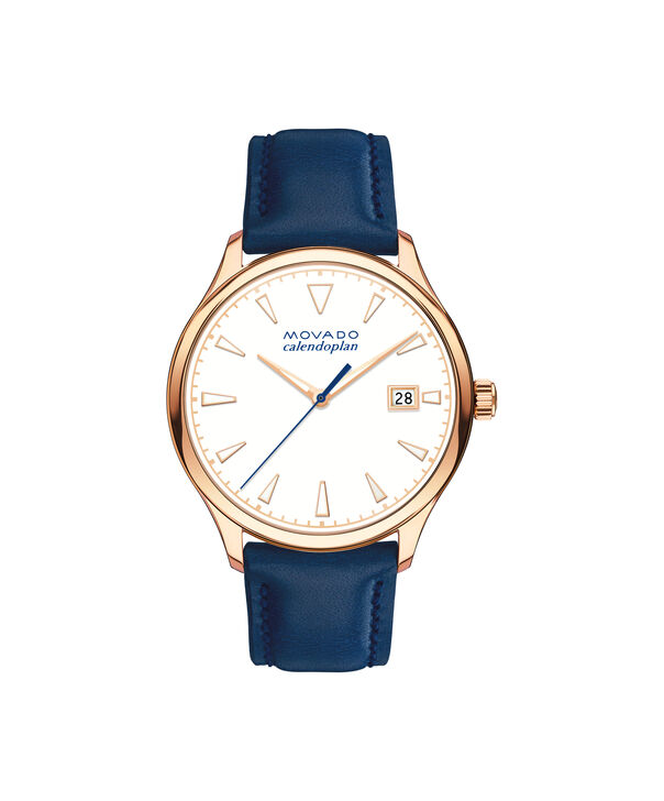 Movado   Movado Movado Heritage Series Women's rose gold ion-plated stainless steel watch with blue leather strap
