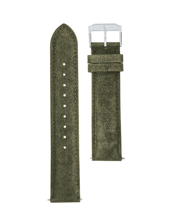 MOVADO Movado Watch Straps769300996 769301012 769301028 – Army Green Suede w/ SS buckle - Front view