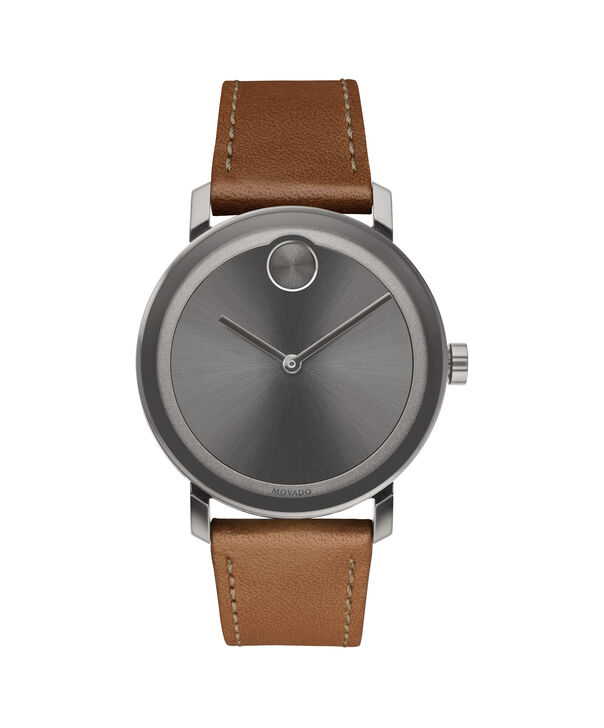 Movado | Movado Bold gunmetal ion-plated Stainless Steel Watch with leather strap