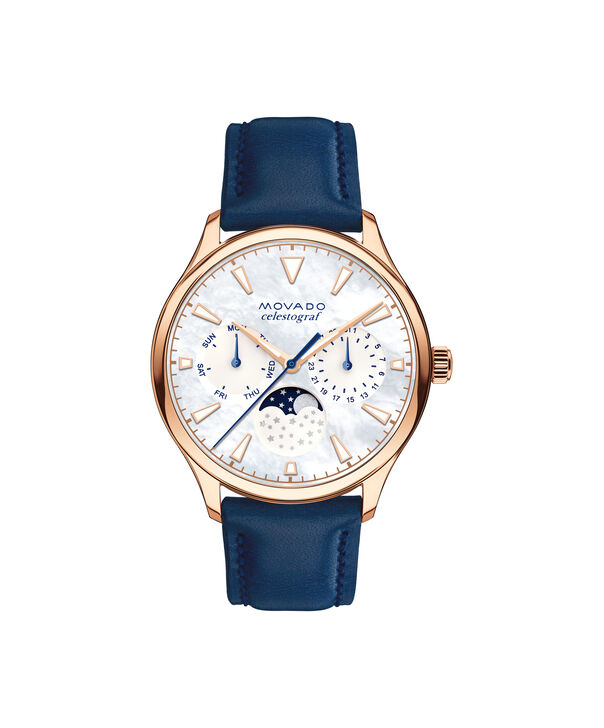 Movado | Movado Heritage Series Women's Mid-size Rose gold ion-plated stainless steel watch with blue strap