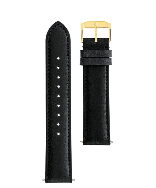 MOVADO Movado Watch Straps769300986 769300942 – Black Leather Strap w/ YG buckle - Front view