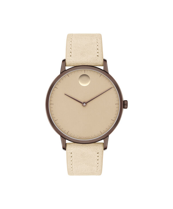 movado face bronze stainless steel watch with brown leather strap