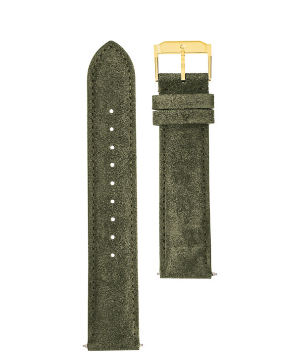 MOVADO Movado Watch Straps769300997 769301013 769301029 – Army Green Suede w/ YG buckle - Front view