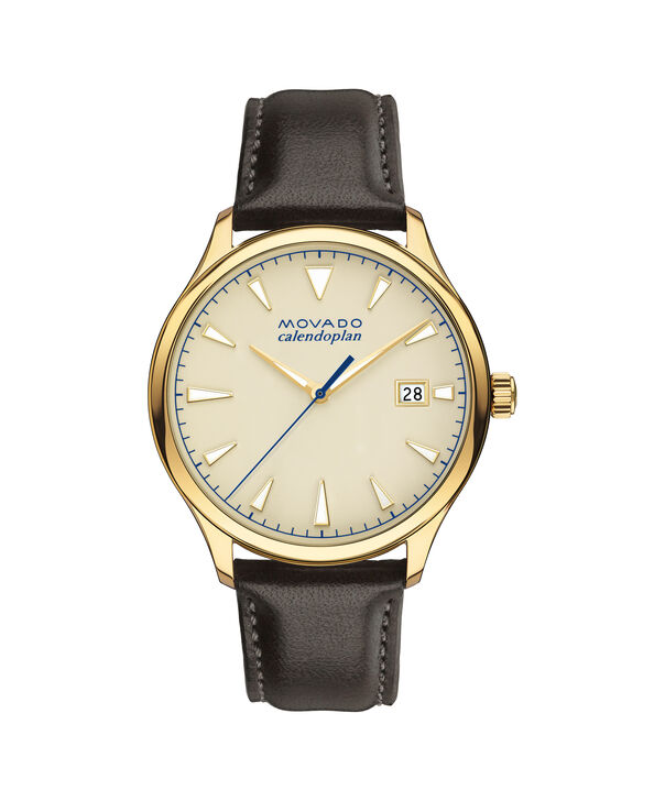 Movado | Large Men's Movado Heritage Series Calendoplan yellow gold PVD-finished stainless steel watch with parchment-colored dial and brown leather strap