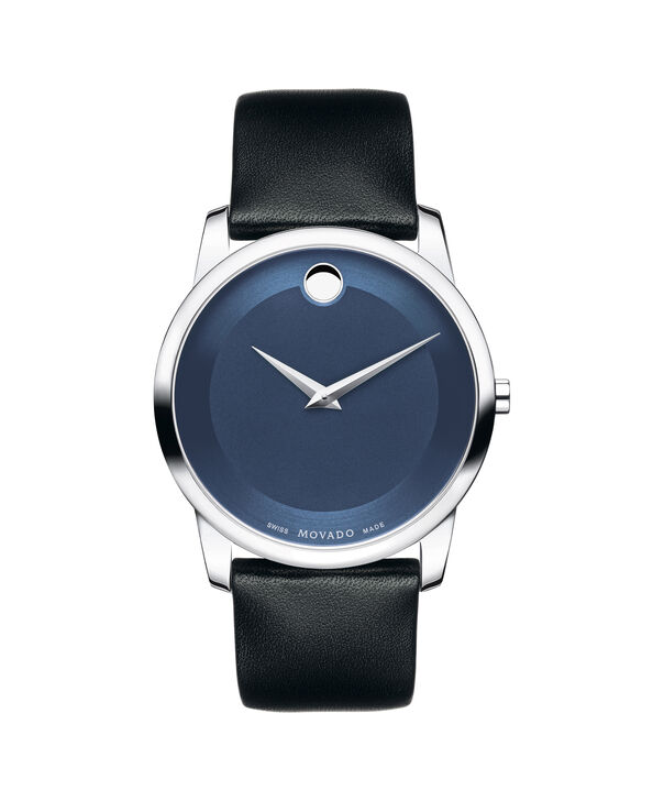 Movado | Museum Men's Stainless Steel Watch With Blue Dial and Black Strap