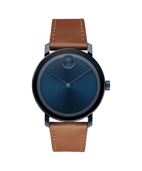 Movado | Movado Bold blue ion-plated Stainless Steel Watch with leather strap