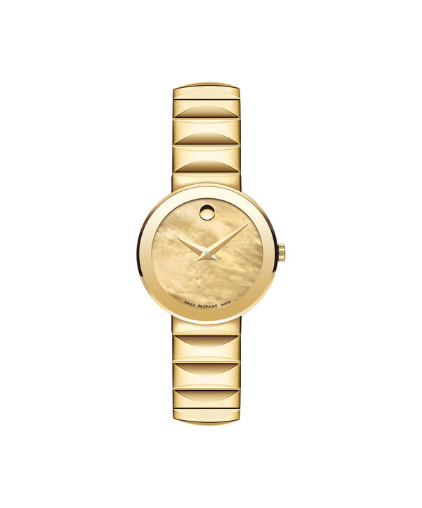 Movado | Women's Sapphire  Yellow gold PVD-finished Stainless Steel Watch with Yellow gold-toned Mother of Pearl Dial
