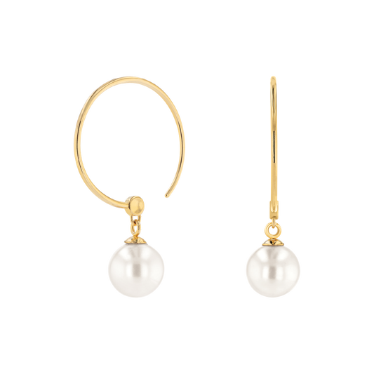 Movado Pearl Hoop Earrings
