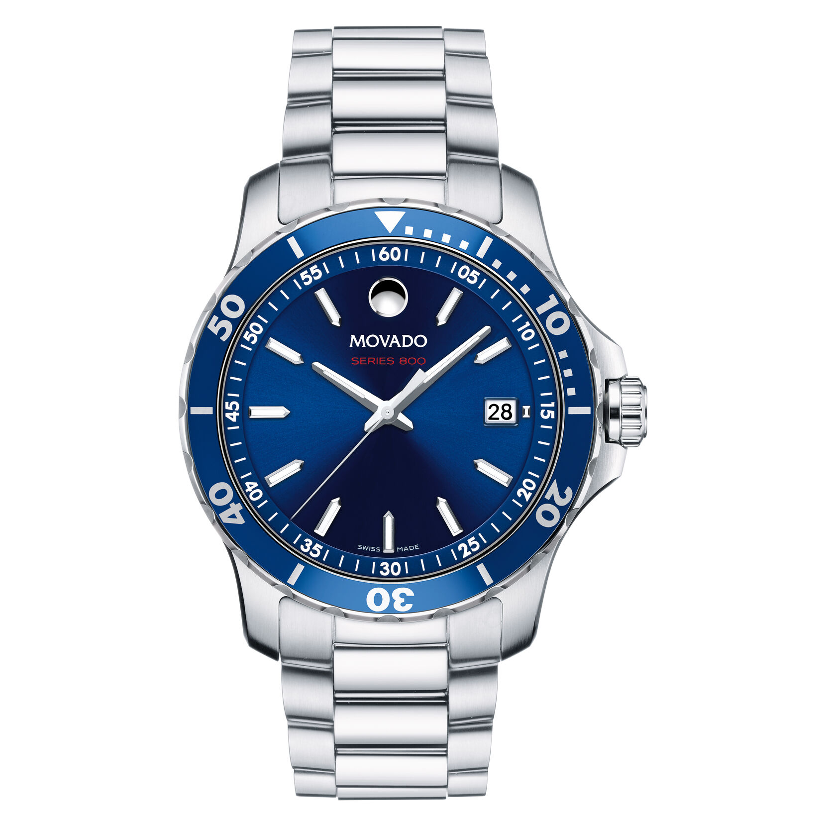 Movado Series 800, Blue Watch, Silver Watch, Stainless Steel