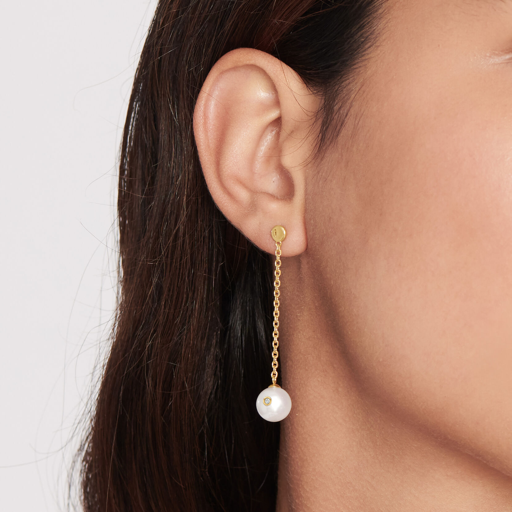 Movado Pearl With Diamond Accent Drop Earrings