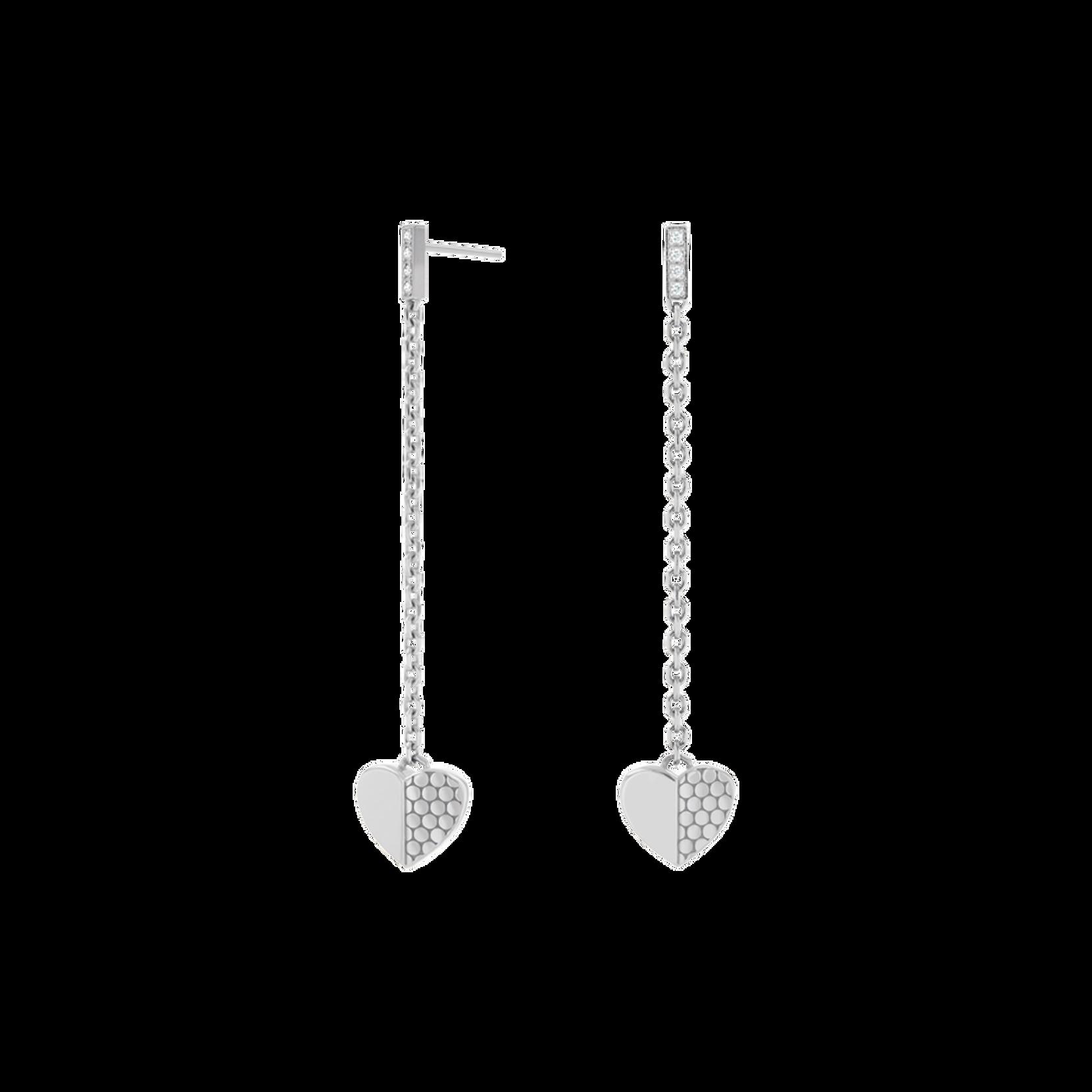 Movado Heart Charm & Diamond Drop Earrings