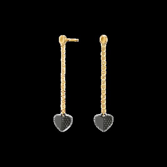 Movado Heart Charm Drop Earrings