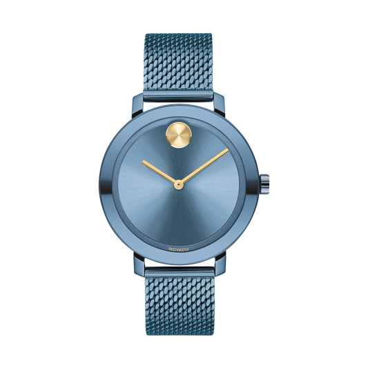 Movado | Movado BOLD Evolution blue watch with gold accents on a mesh  bracelet