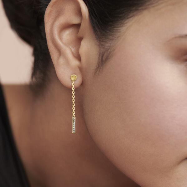 Movado Diamond Bar Drop Earrings