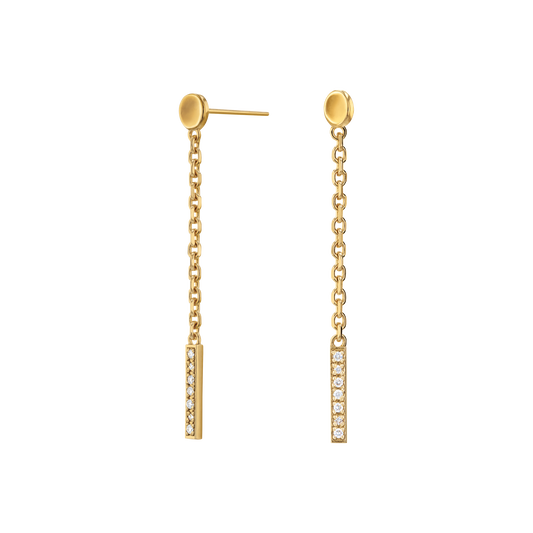 Movado Diamond Bar Drop Earrings