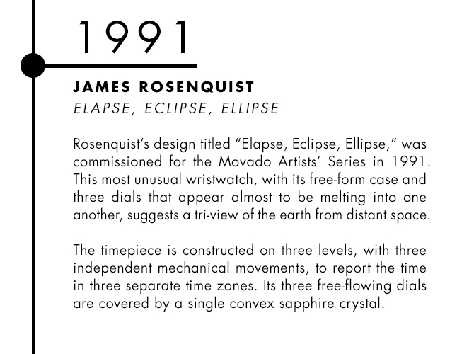 James Rosenquist and Movado designer watch collaboration