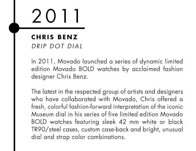 Chris Benz and Movado designer watch collaboration