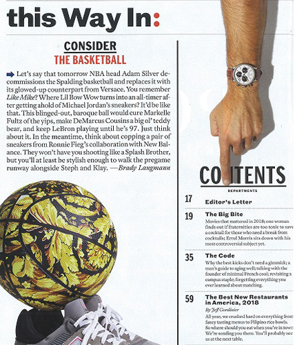 Movado Heritage Series Watch featured in Esquire magazine